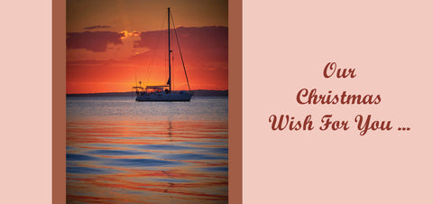 Personalised Christmas Card - Yacht on firey waters