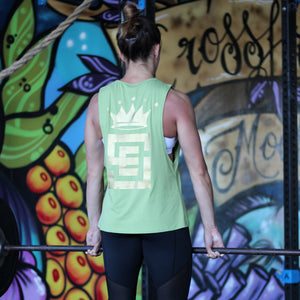 ladies un-limited muscle gold print green back