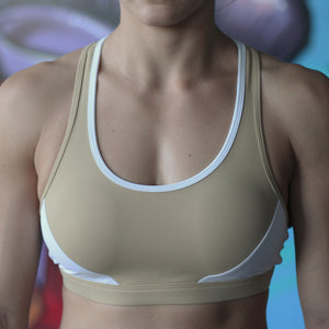 Rhea sports crop two tone tan and white front