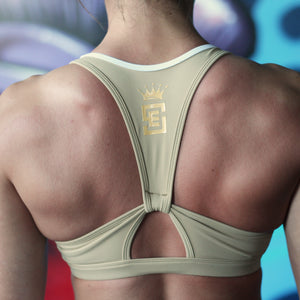 Rhea sports crop two tone tan and white back