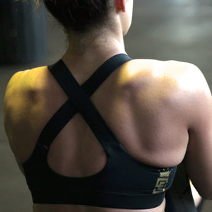 Stealth black sports bra back side