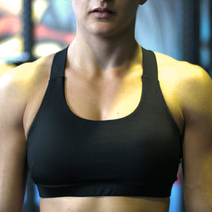 Stealth black sports bra front