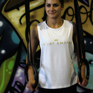 ladies un-limited muscle gold print white front
