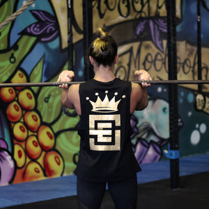 ladies un-limited muscle gold print black back