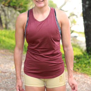 ladies urban athlete tank burgandy front