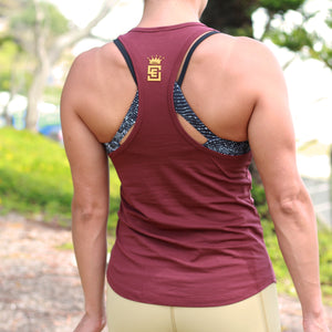 ladies urban athlete tank burgandy back