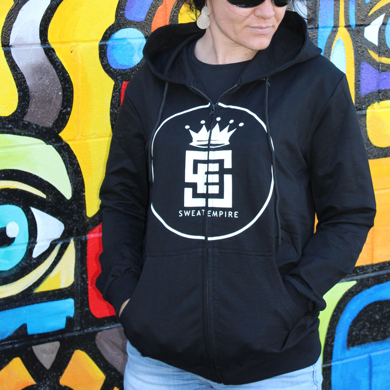 Black Zip front hoodie with White embossed logo