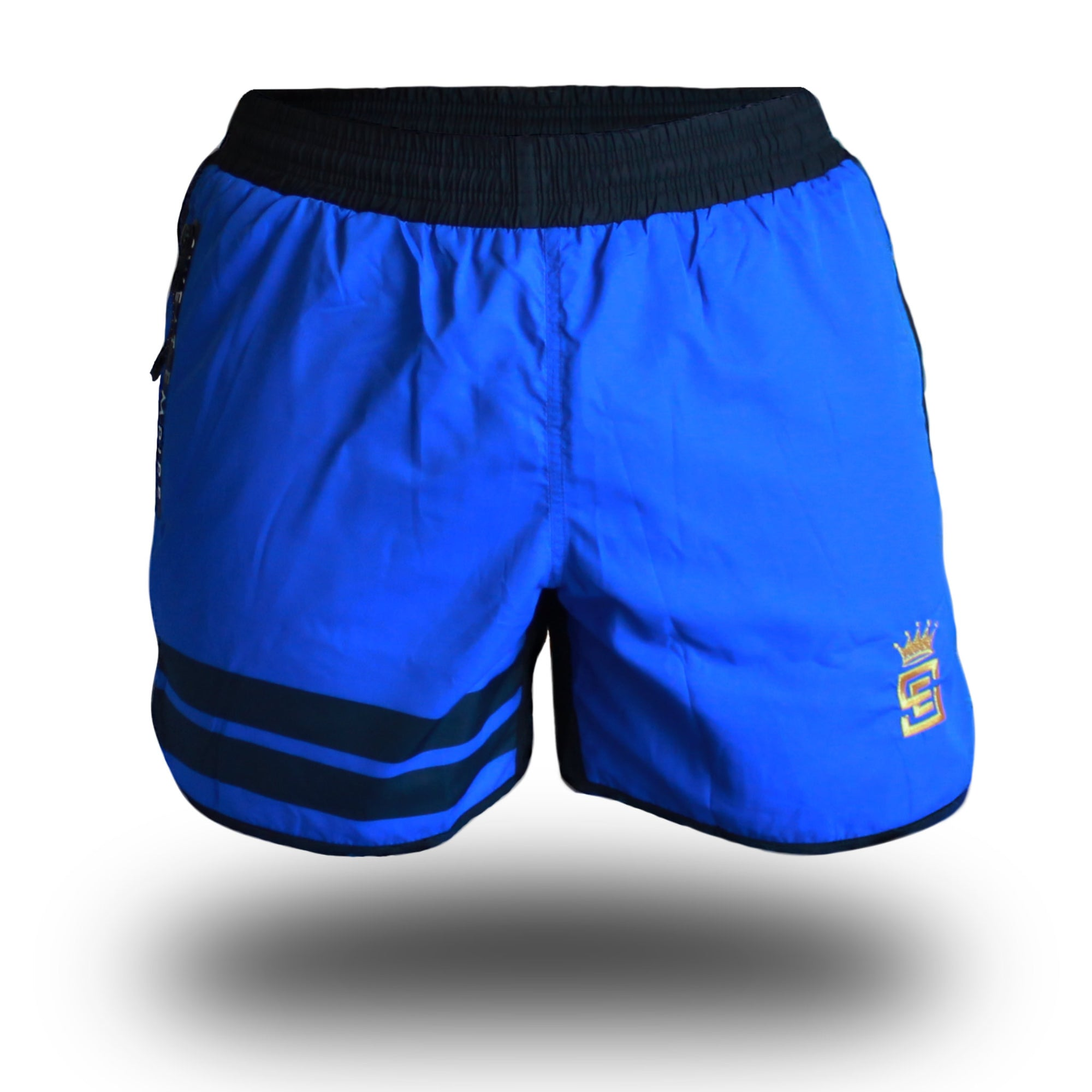 mens get shorty shorts blue/black front