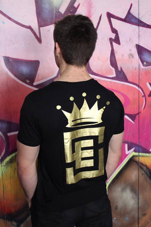 Mens Limited edition black and gold strength tee back
