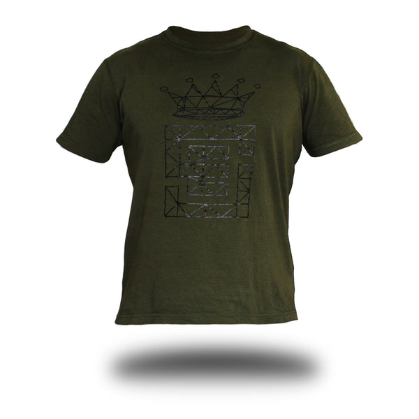 Unisex Olive Tee black wire frame print front