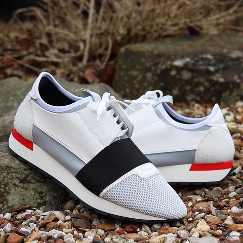 Balenciaga White Black Panelled Race Runners