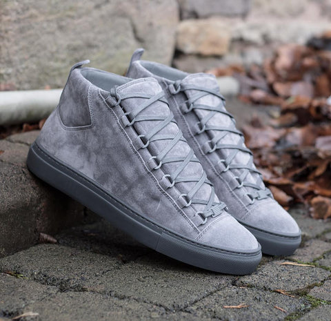 Balenciaga Men Sneakers High Top Suede Grey Sneakers