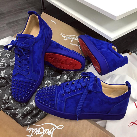 Christian Louboutin Blue Suede Louis Junior Sneakers