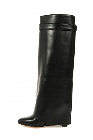 Givenchy Tall Black Leather Shark Lock Wedge Boots - Mufutau.com