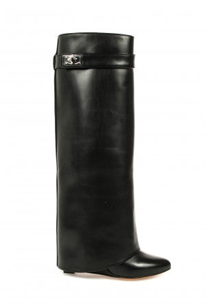 Givenchy Tall Black Leather Shark Lock Wedge Boots