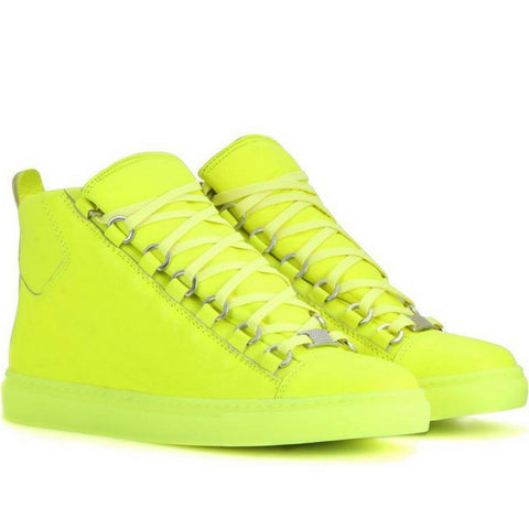 Balenciaga Fluo Yellow  Arena leather sneakers - Mufutau.com