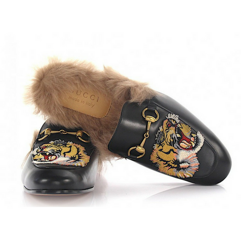Gucci Men Fur Slipper Princetown Leather Black Bengal Patch Lambskin