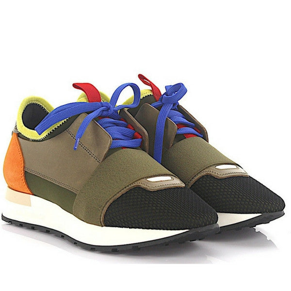 Balenciaga Men Brown Multi Mixed Media Trainer Sneaker