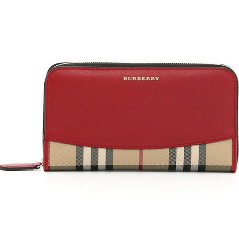 Burberry Red Horseferry Check and Leather Zip-around Wallet - Mufutau.com