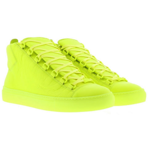 Balenciaga Men Neon Yellow High Top Sneakers - Mufutau.com