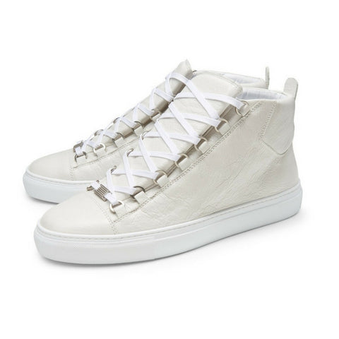 Balenciaga Men White  High Top Sneakers with distressed Look