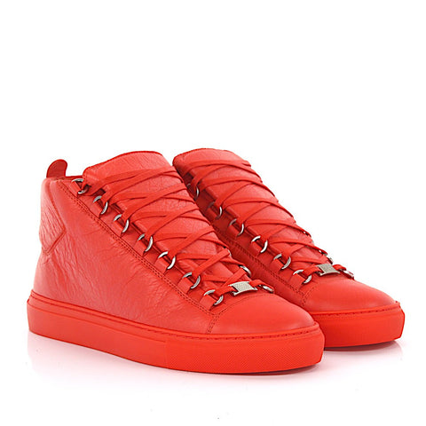Balenciaga Men Orange high Arena leather orange sneakers