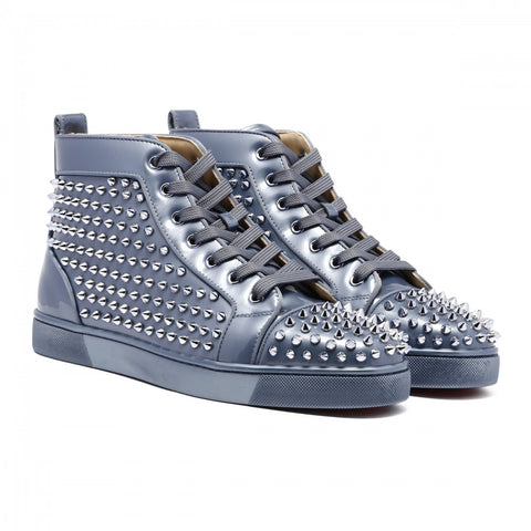 Christian Louboutin Men Grey Patent Louis Calf Spikes Sneakers