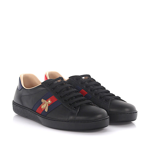 Gucci Men Black Ace embroidered low-top sneaker