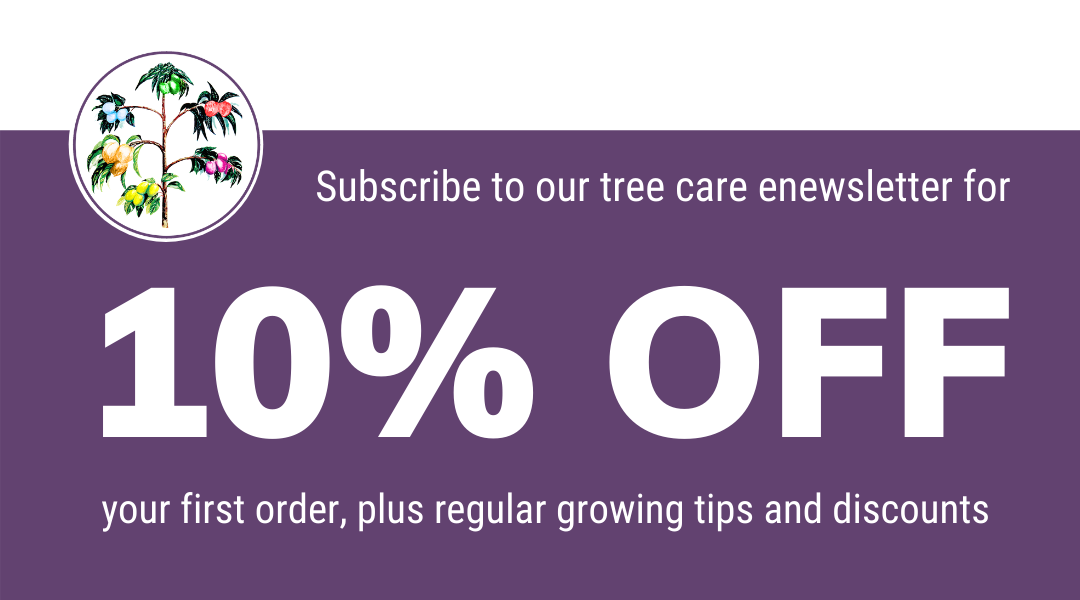 sign up for 10% off your forst fruit salad tree order for regular growing tips for your fruit tree edible garden