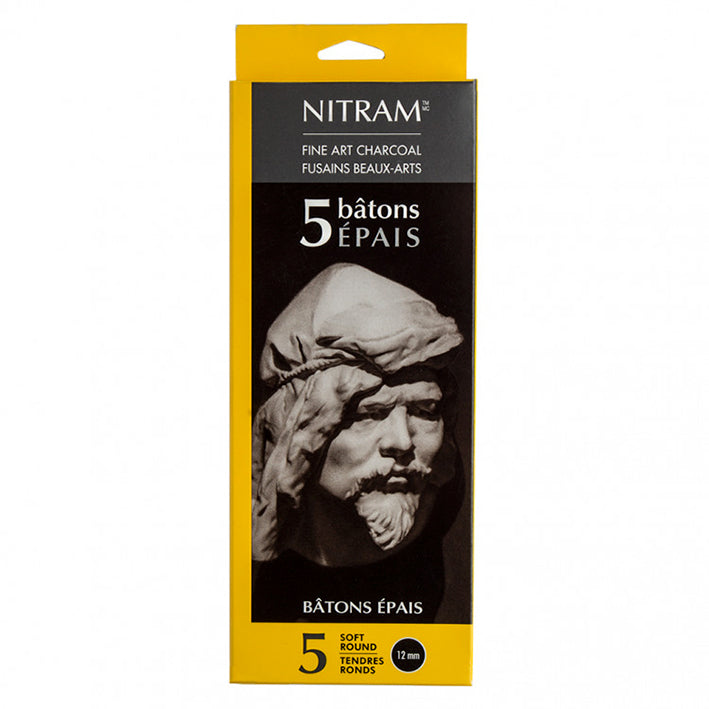 Nitram : Charcoal Batons Epais : Extra Soft : Round : 12mm : Box of 5
