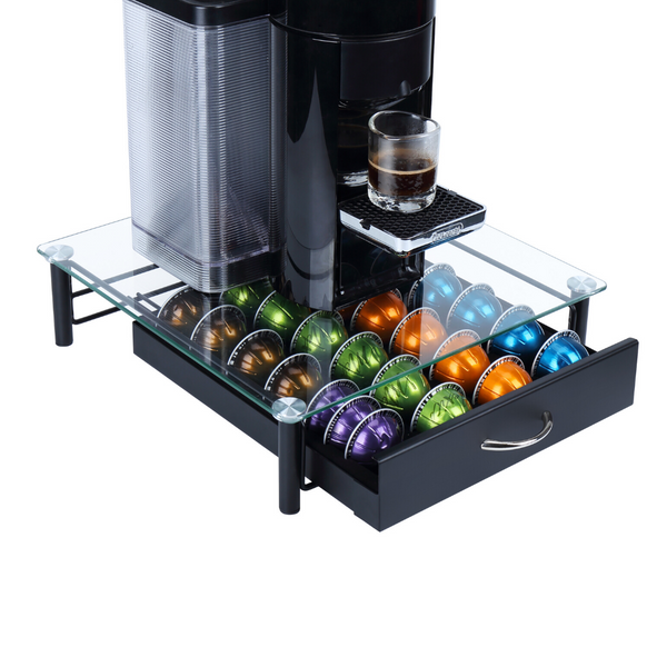 Solid Iron Drawer and Tempered Glass Top Large-Capacity Nespresso Coffee Capsule Storage Drawer Holder, Fits Up to 44 Nespresso Pods