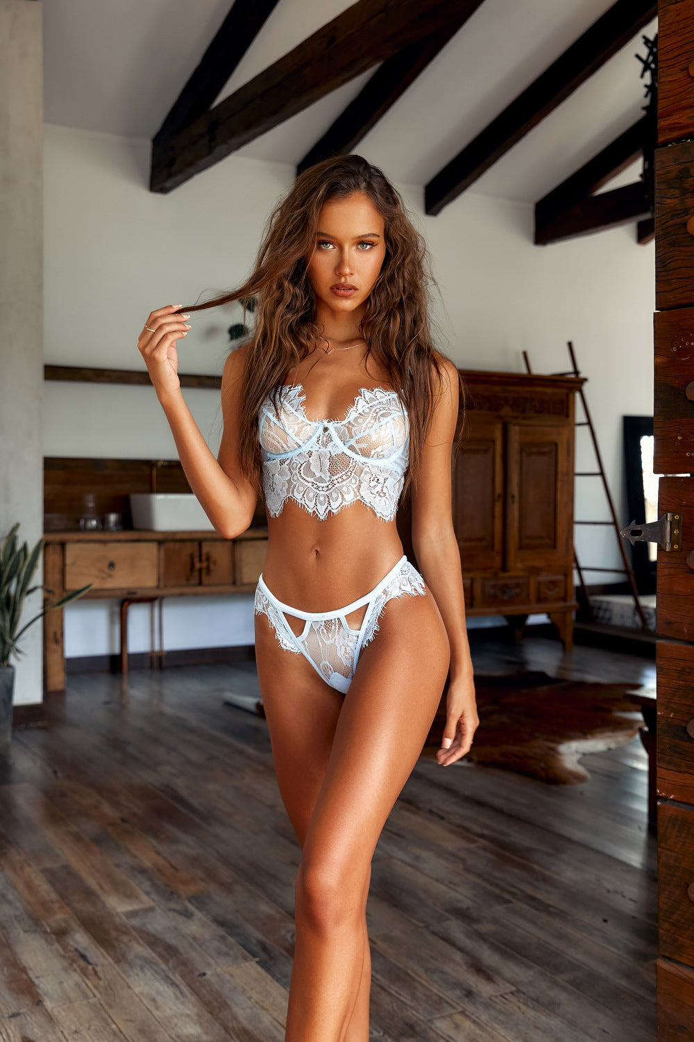 Isabelle Mathers wearing the Balcony Be Mine Lingerie Set in Baby Blue