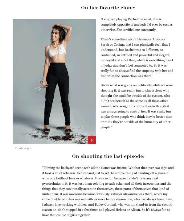 An article snippet of Tatiana Maslany leaving the Orphan Black series