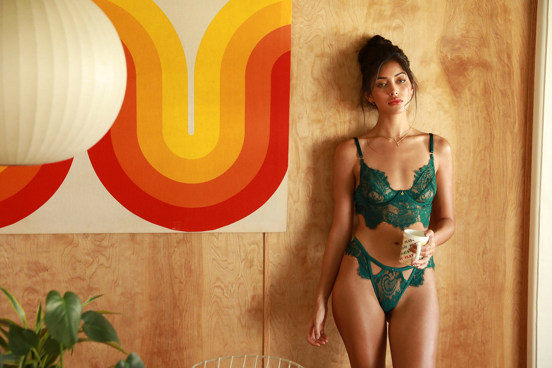 Cindy Kimberly wearing the Be Mind Emerald Lingerie Set