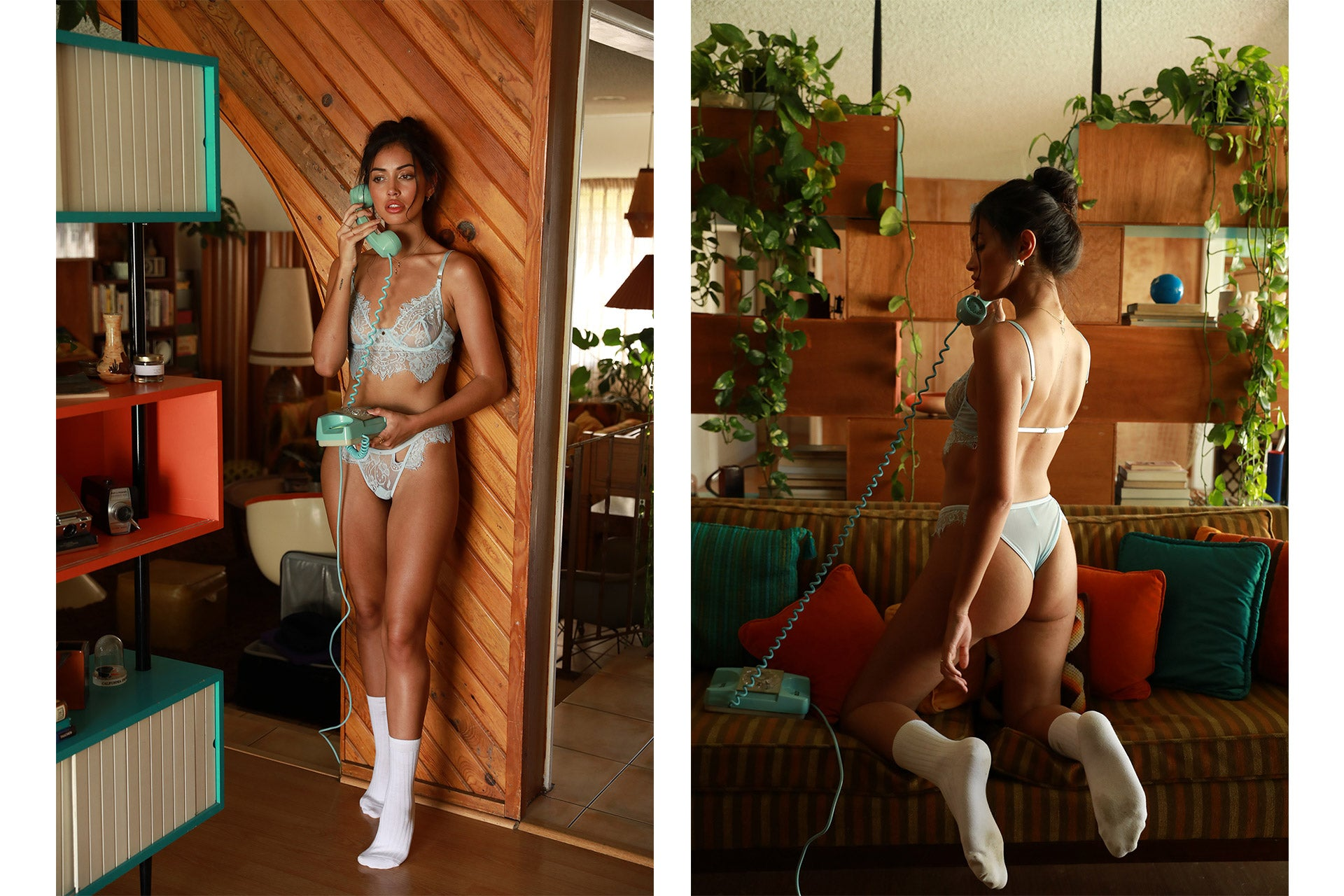 Cindy Kimberly wearing the Be Mine Baby Blue Lingerie Set