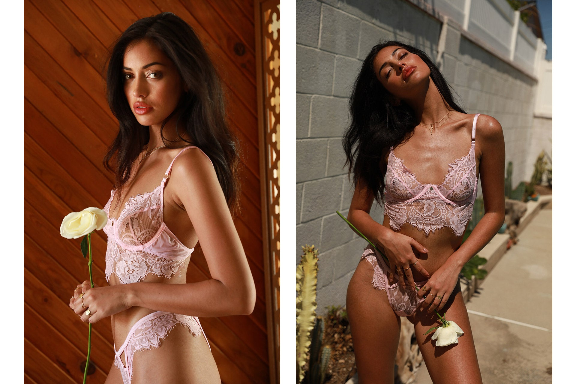 Cindy Kimberly wearing the Be Mine Baby Pink Lingerie Set