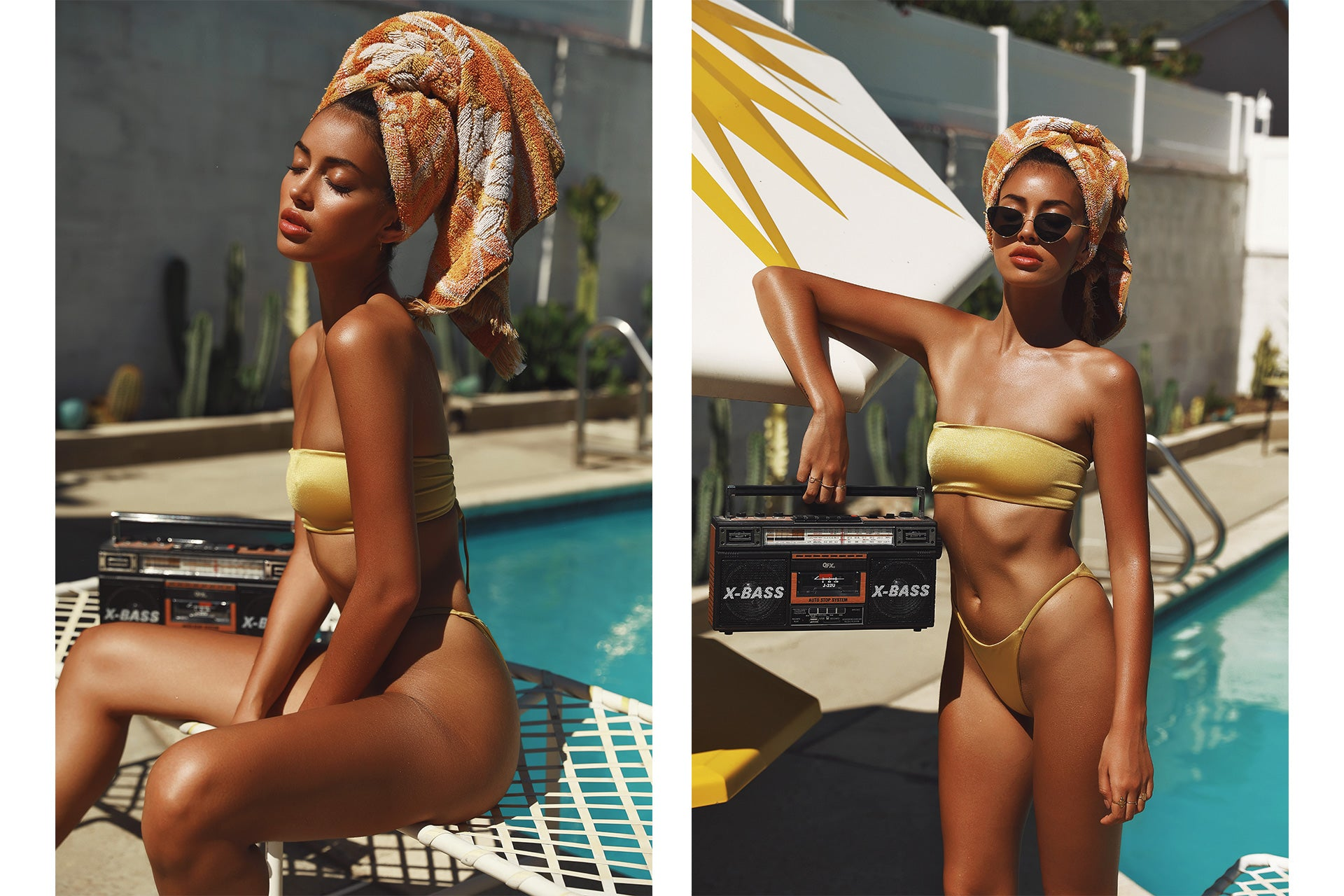 Cindy Kimberly wearing the Delight So Chic Sweet Sunrise Bandeau Bikini Set while sitting on a pool lounge chair