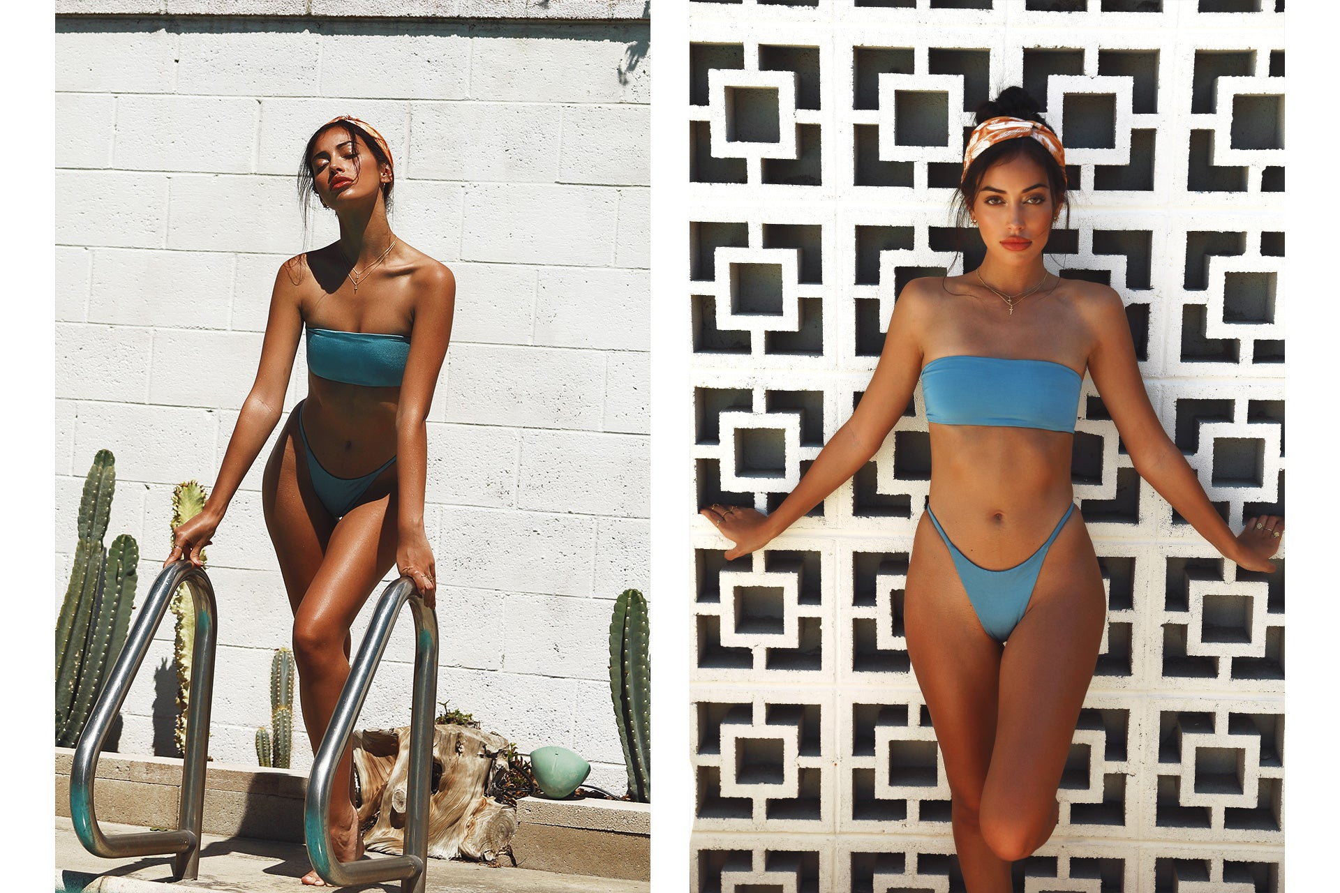 Cindy Kimberly wearing the Delight So Chic Blue Lagoon Bandeau Bikini Set while standing by a pool