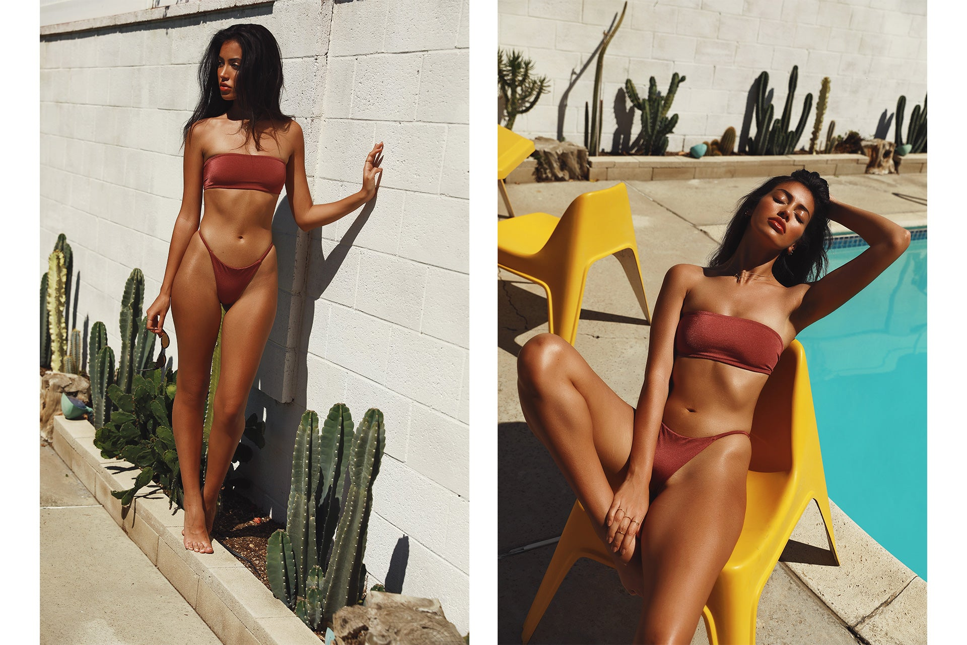Cindy Kimberly wearing the Delight So Chic French Kiss Bandeau Bikini Set while near a swimming pool