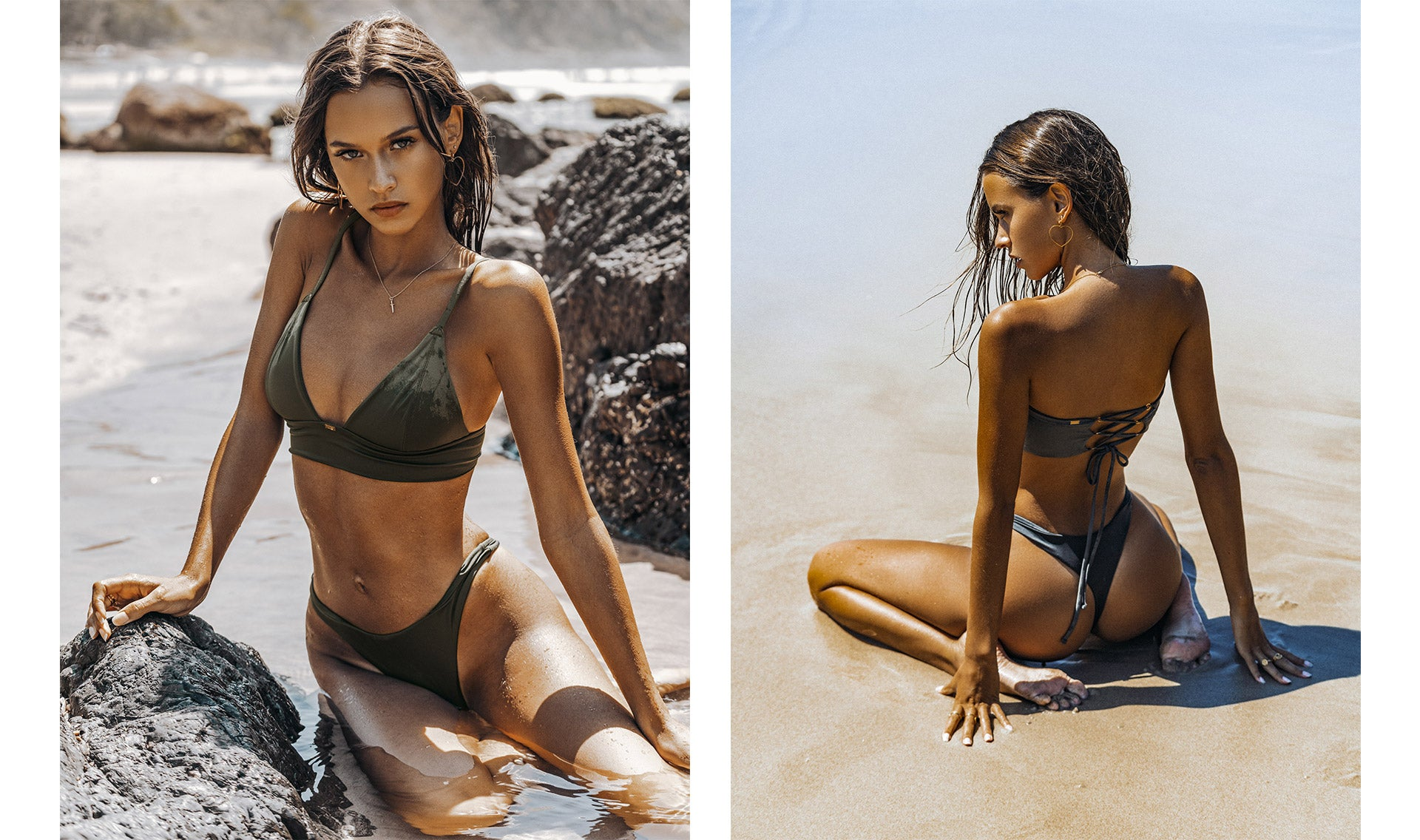 Isabelle Mathers wearing the For You Coconut Bikini Crop Set while lying down on a beach