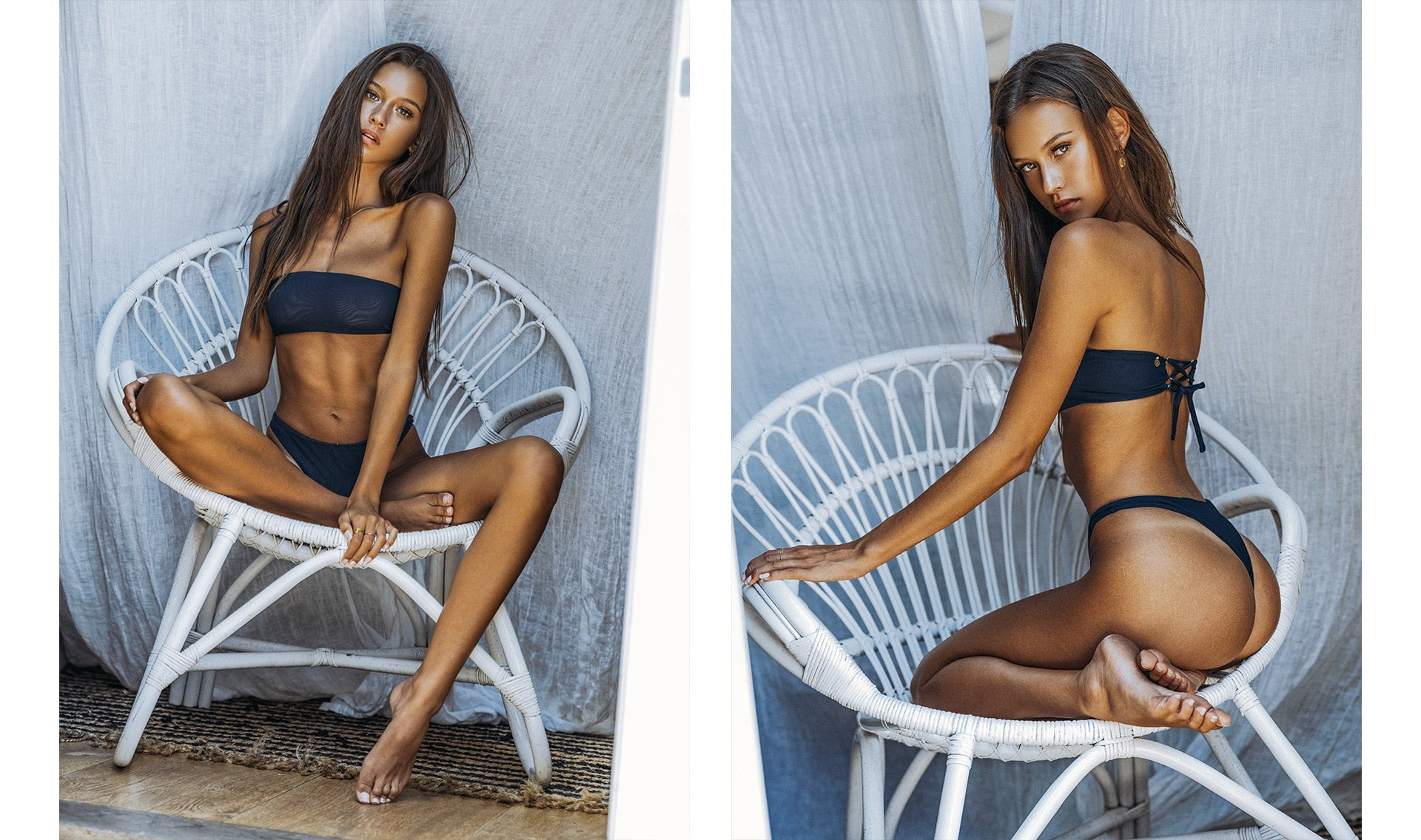 Isabelle Mathers wearing the For You Deep Blue Bandeau Set
