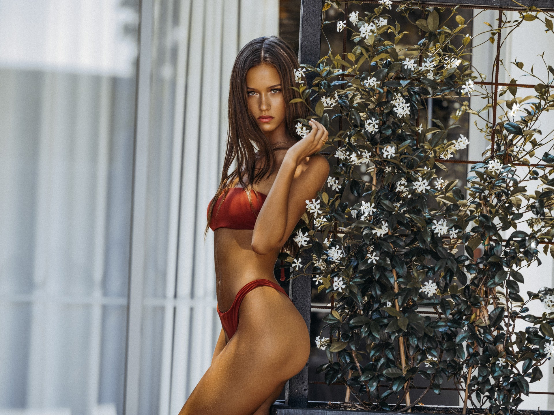 Isabelle Mathers wearing the For You Red Bandeau Top and Bottom