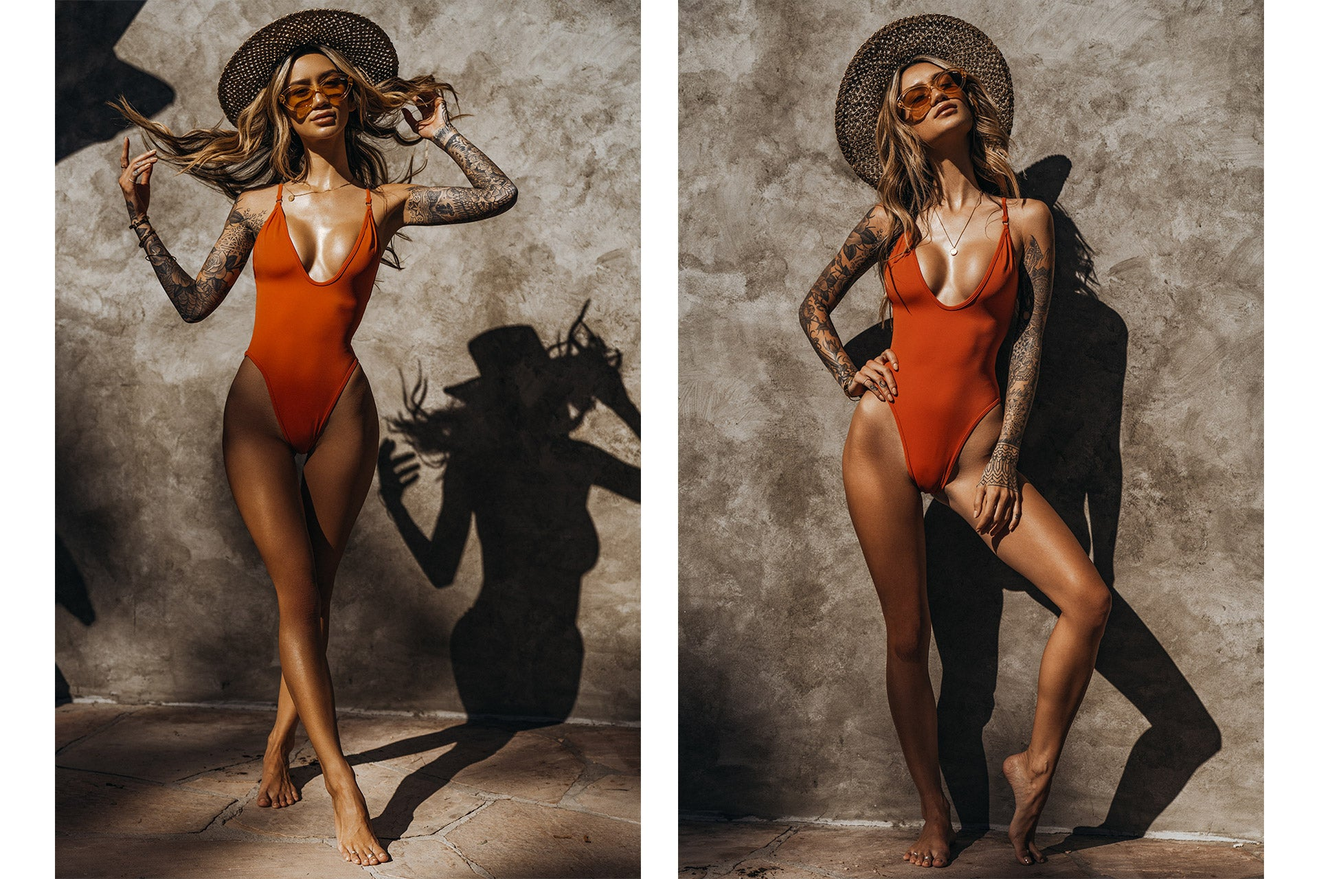 Jenah Yamamoto/Gypsyone wearing the So Chic Rum One Piece Swimsuit while wearing a straw hat