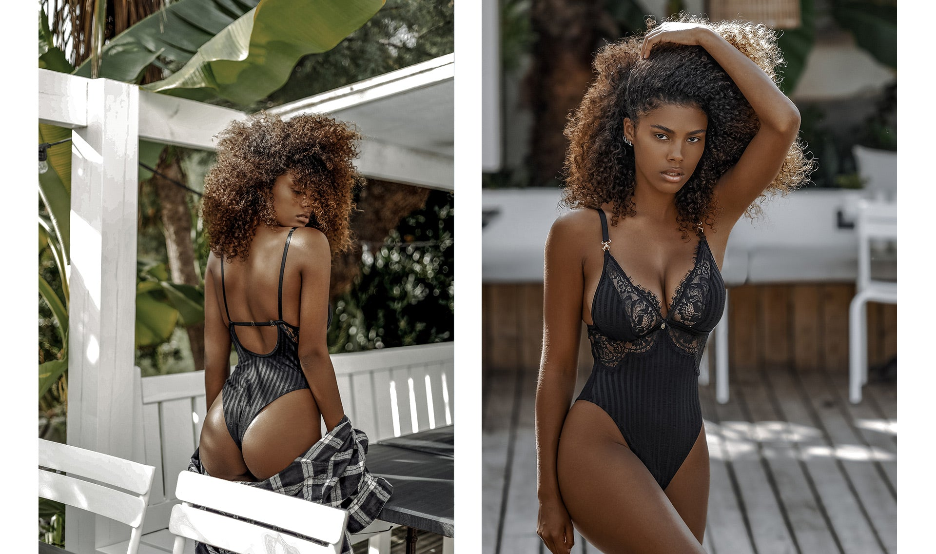Tina Kunakey flaunting her assets in the Bliss Bodysuit in Black