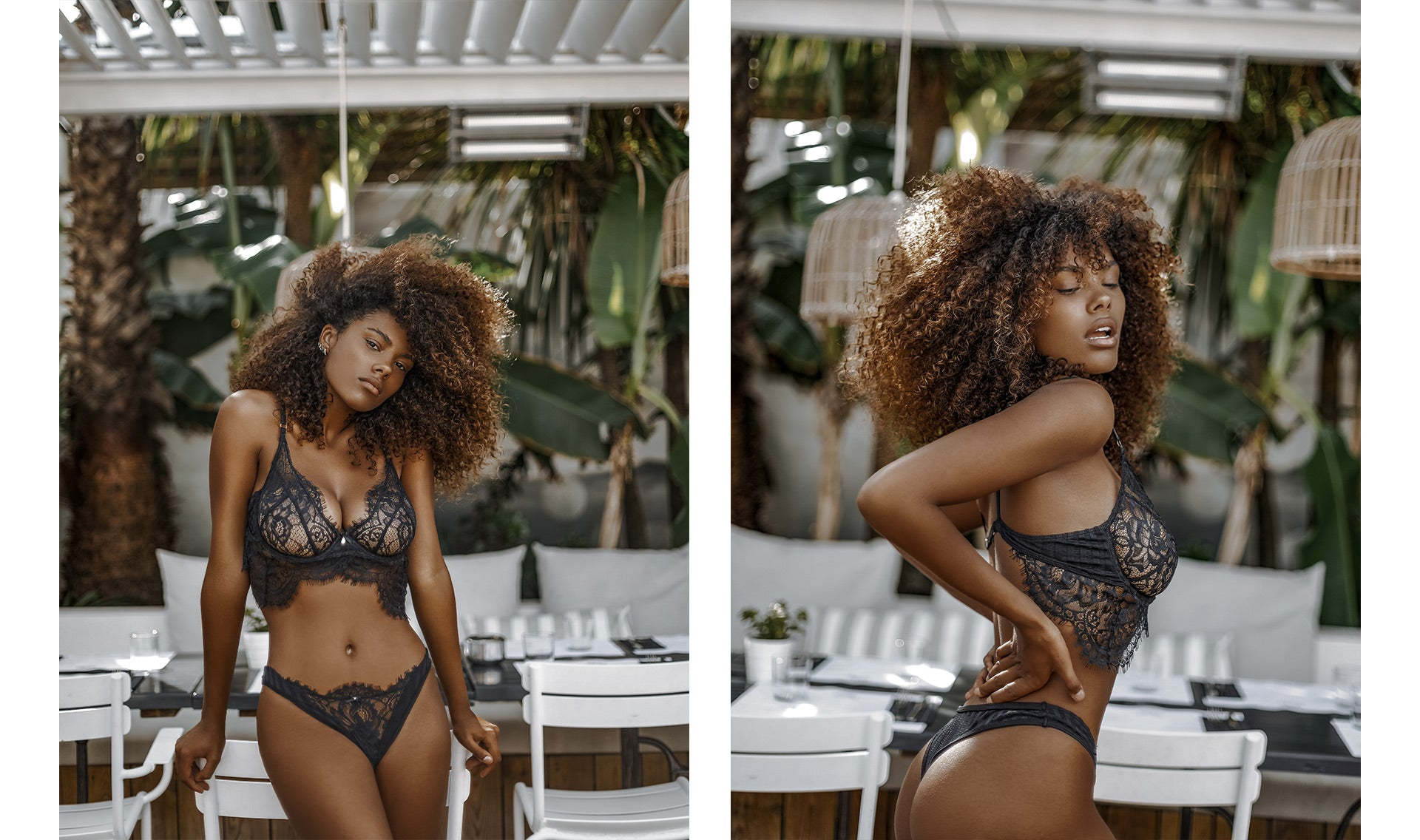 Dual photos of Tina Kunakey posing in the Bliss Black Lingerie Set