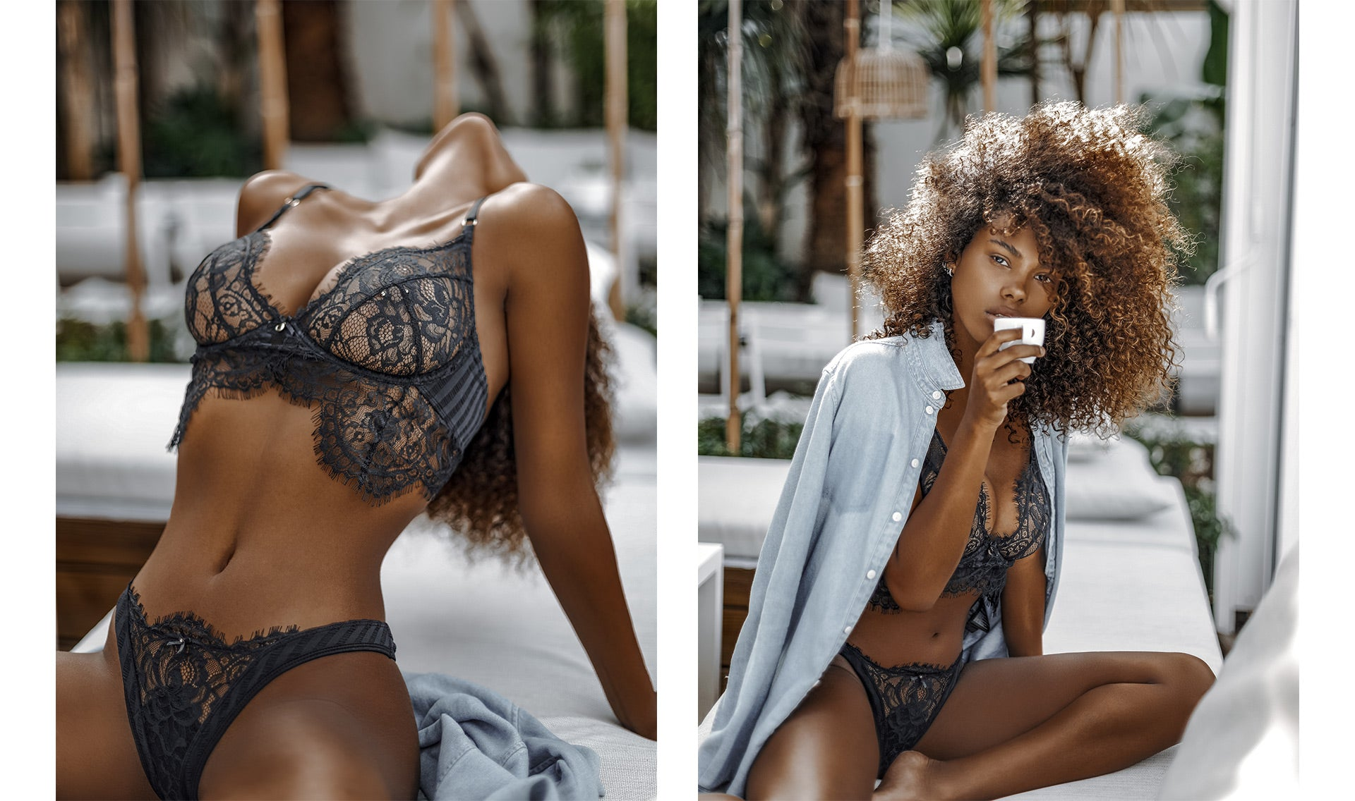 Dual photos of Tina Kunakey posing in the Bliss Black Bra & Thong Set