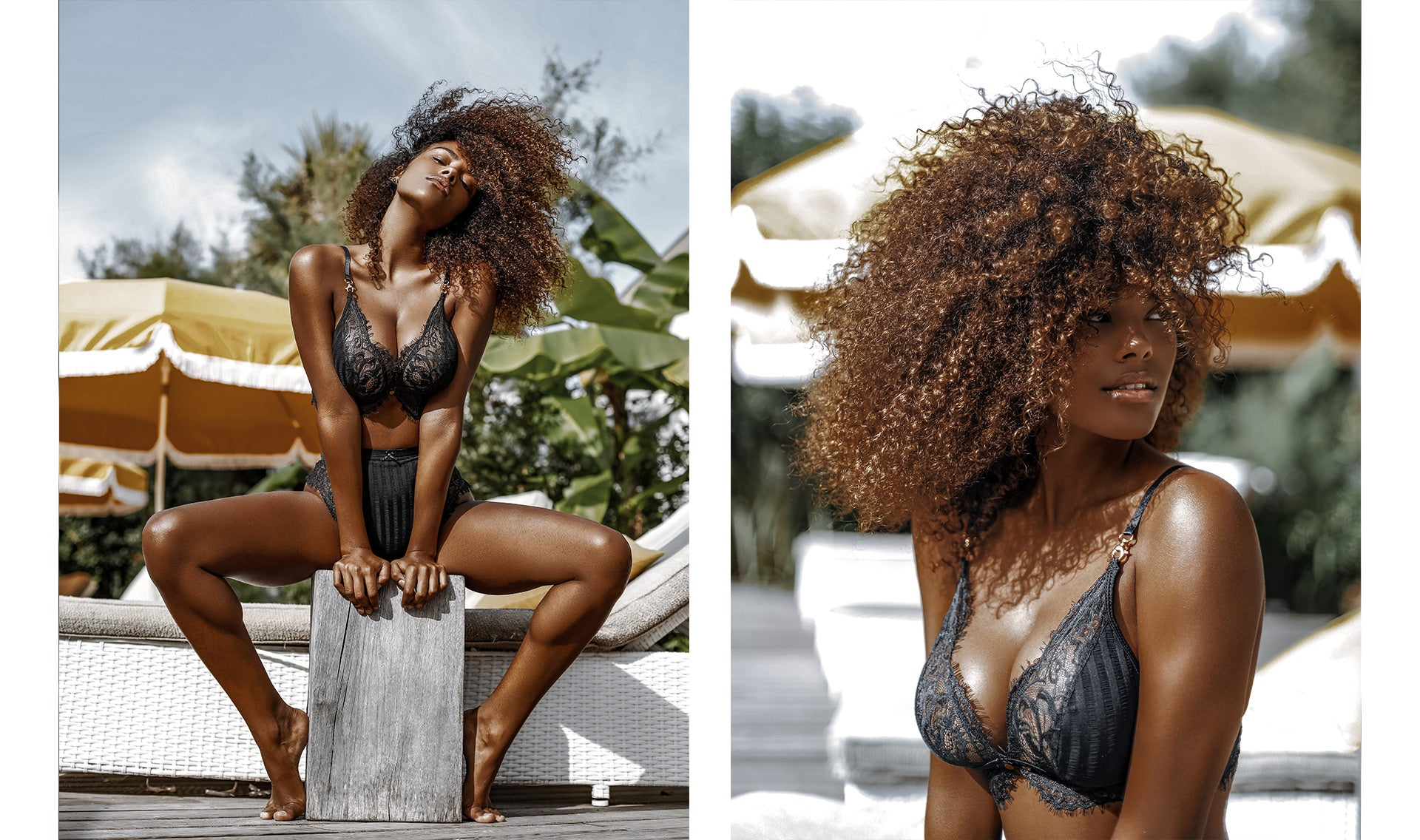 Photos of Tina Kunakey posing in the Bliss Black Longline Bra & Thong