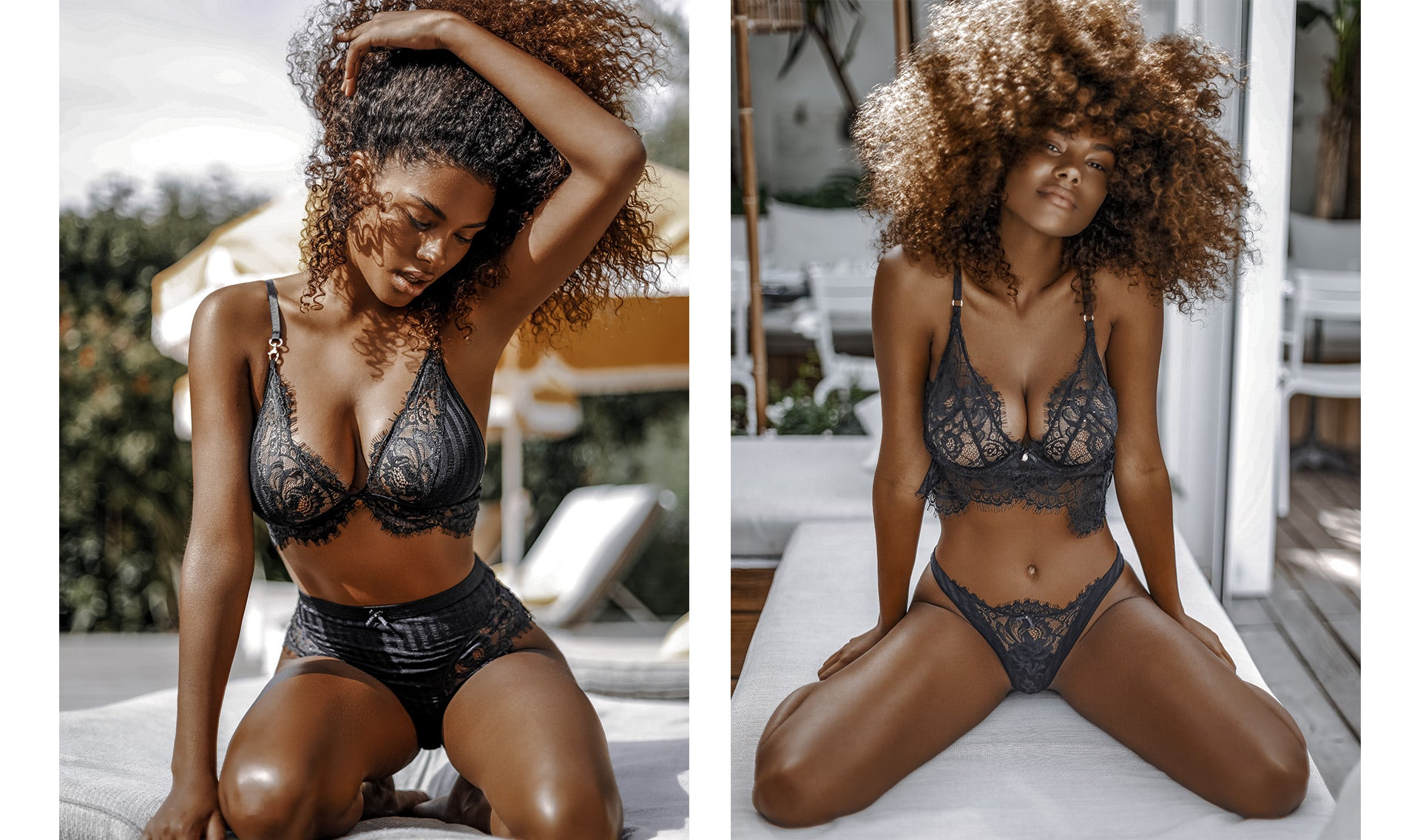 Photos of Tina Kunakey posing in the Bliss Black Triangle and Longline Sets