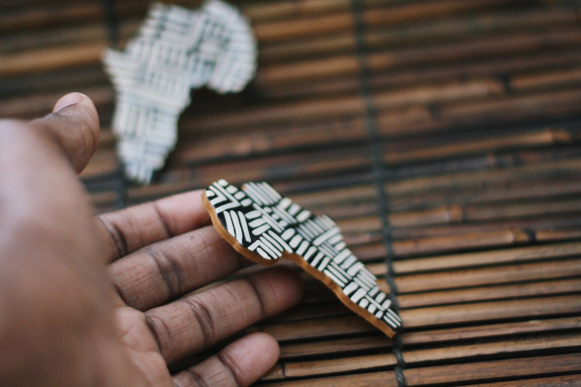 Wooden Black and Ivory Africa earrings - Wild Child Dzigns