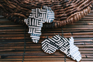 Large African wooden earrings in black and ivory - Wild Child Dzigns